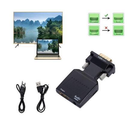 KONWERTER VGA D-SUB DO HDMI ADAPTER + AUDIO